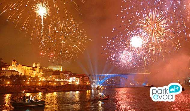 Fuegos artificiales en Oporto