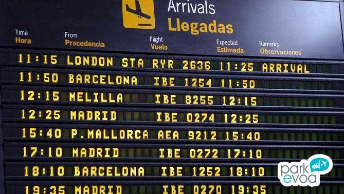 panel informativo vuelos